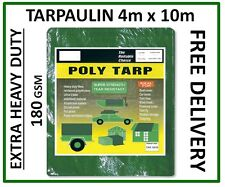 Extra Heavy Duty Tarpaulin 4m x 10m, Green Groundsheet Waterproof Cover, 180gsm