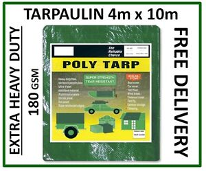 Green Heavy Duty Tarpaulin 4m x 10m  Groundsheet Waterproof Cover 180 gsm