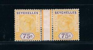 "Seychelles - 1900 - ""Interpaneu Pair"" of 75¢ - SC 17v [SG 33v] MINT 19 ""RARE"""