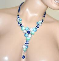 COLLAR mujer gargantilla colgantes flores agua verde azul plateada cristales G70