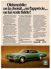 1973 OLDSMOBILE Delta 88 Royale Vintage Original SMALL Print AD Green car French