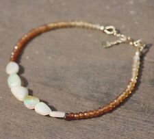 Natural Hessonite Garnet Opal Bracelet Solid 14k Gold January October birthstone