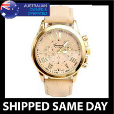 LADIES APRICOT GENEVA FASHION DRESS WATCH Faux Leather Strap Gold Womens 21