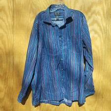 Alexander Julian Colours Blue Striped Button Down Long Sleeve Shirt Men's XL