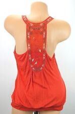 Mine Womans Top Size Medium T Back Shear Embroidered Braided Straps Orange
