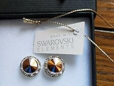 Genuine Swarovski Elements Gift Boxed 13mm  Rose Gold Crystal Stud Earrings