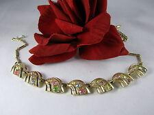 Vintage Pastel Rhinestone Gold tone Necklace CAT RESCUE