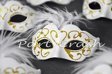 12 White Small Mini Masquerade Mask Wedding Sweet 16 Party Decoration Favors