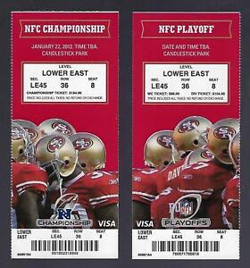 2011-12 NFL NFC PLAYOFFS SAINTS GIANTS @ 49ERS FULL UNUSED FOOTBALL TICKETS