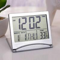 Digital LCD Weather Station Folding Alarm Clock Desk Temperature Travel-best-