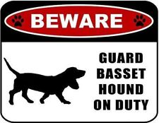 Beware Guard Basset Hound (Silhouette) on Duty Laminated Dog Sign