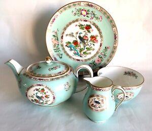 Extremely Rare Vintage Wedgwood Bideford Aqua Tea Pot, Milk, Sugar And Plate