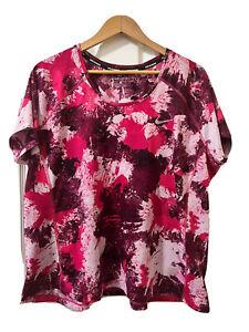 Nike Running Dri Fit Pink Geometric Pattern 3X Plus Size Top