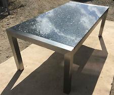 Schreibtisch Esstisch Wohnzimmertisch mit massiver Granitplatte Edelstahlgestell