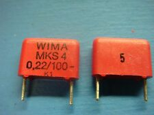 (50) WIMA MKS4 .22/100/5 .22uF 100V 5% 10mm POLYESTER FILM CAPACITOR