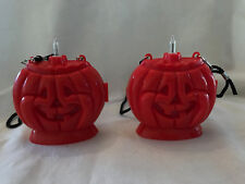 Vintage (2) Halloween Light Up Pumpkin Jack-O-Lantern Necklace Trick Treat