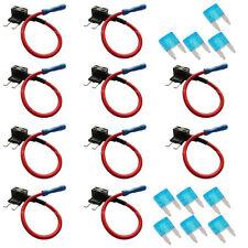 10x KFZ Sicherungshalter Mini Flachsicherung Halter Wasserdicht & 15A Sicherung