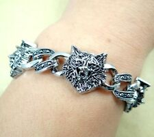 Punk Gothic Stainless Steel Wolf Skull Biker Men's Chain Bracelet Silver Tone T8