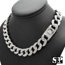 "Hip Hop Men's White Gold PT Iced Out 15mm 16"" Miami Cuban Choker Chain Necklace"