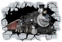 Huge 3D Steam Train Crashing through wall View Wall Sticker Mural Decal Film 69