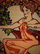 VINTAGE Hand Stitched UNFRAMED COMPLETED ART NOUVEAU WOMEN FLORAL NEEDLEPOINT