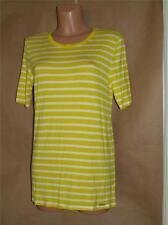 Michael Kors Women's Size L Yellow & White Striped Rayon & Spandex Knit Top