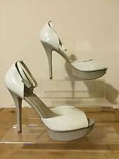 Ladies ALDO Cream & Taupe Platform Peep Toe High Heel Party Court Shoes UK 8