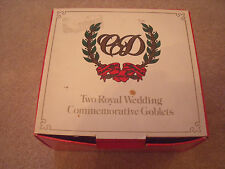 PRINCE CHARLES & LADY DIANA SPENCER MARRIAGE BOXED GOBLETS X 2 1981