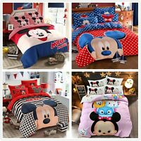 4pc Kids Mickey&Minnie Cotton Bedding Duvet Cover Pillowcases Cartoon Pink Cute