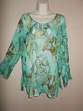 Chillytime Womens Size M Semi-Sheer Multi-Color Blues Long Sleeves Sequin Neck