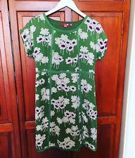 Stunning BODEN 100% Silk Green White Purp Floral Short Sleeve Dress - 14R