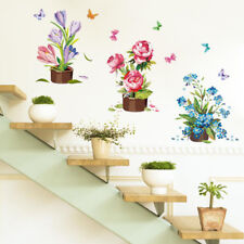 Home Garden Home Decoration Wall Decor Potted Flowers Plants Wall Stickers