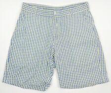 BILLS KHAKIS Men's Size 34 Blue Green Plaid Check Casual Flat Front Shorts USA