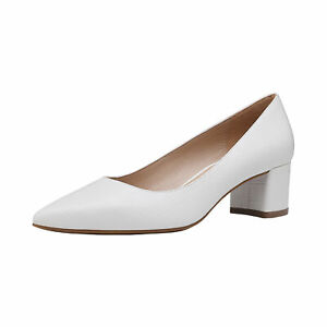 Women's Slip On Pump Shoes Low Chunky Block Pointed Toe Wedding Dress Shoes