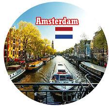 AMSTERDAM - SIGHTS / FLAG - ROUND NOVELTY SOUVENIR FRIDGE MAGNET - BRAND NEW