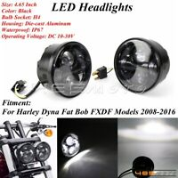 """Black Motorcycle 4.65"""" LED Headlight Lamp For Harley Dyna Fat Bob FXDF 2008-2016"""