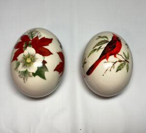 The Egg Lady Decorative Painted Porcelain Ceramic Eggs Poinsettias Red Bird Lot