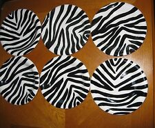 Set of 6 ZEBRA by Tabletops Unlimited Handpainted Salad Plates