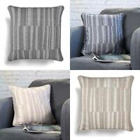 "Striped Cushion Covers Grey Beige Abstract Reversible Cushions Cover 18"" x 18"""