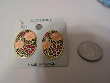 Vintage Red Pink Oval floral cloisonne earrings