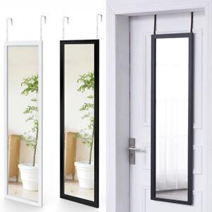 Long Mirror Wall Full Length Over Door Mirror Hanging Floor w/ Adjustable Hooks