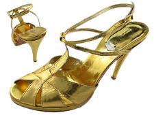 Giorgia Galassi Metallic Yellow Gold Strappy Platform Self-Covered Heel Sandals