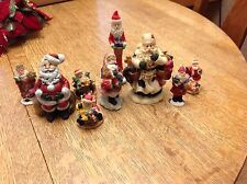 9 Plaster Hand Painted Christmas Santa Figurines 2 to 5 inches tall