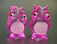 2 Tiny Glass OWLS, BIRDS, Hand Painted, Tinted Pink Glass Ornaments, Animals