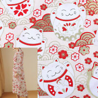 1M Japanese Cat Bronzing Fabric Cotton Patchwork DIY Kimono Dress Sewing Craft