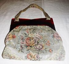 GORGEOUS VINTAGE 50S 60S HINGED LUCITE TAPESTRY BROCADE CROSSOVER  STRAP HANDBAG