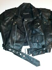 Vintage Womens Wilsons Black Leather Cropped Belted Motorcycle Jacket Sz M Biker