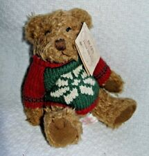 "Russ  ""BEARS FROM THE PAST"" Brown Plush 5"" Bear Red Sweater w/Snowflake & Tag"
