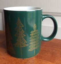Starbucks 2015 Holiday Coffee Tea Mug Cup 12 oz Green w/Gold Trees