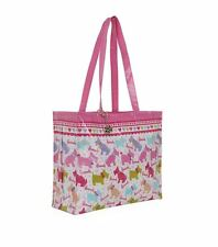 HARRODS WEST HIGHLAND TERRIER DESIGN PINK SHOULDER TOTE BAG -FREE WESTIE KEYRING